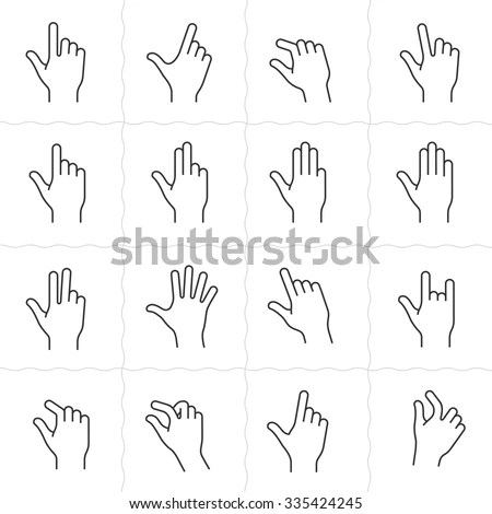 Linear Hand Icons Set On Back Stock Vector 282381725