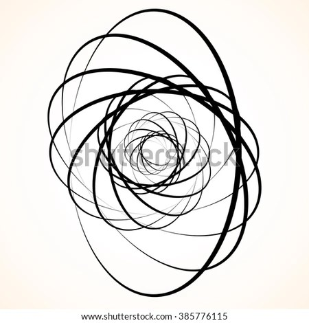 Geometric Rose Vector Line Drawing Spiral Stock Vector
