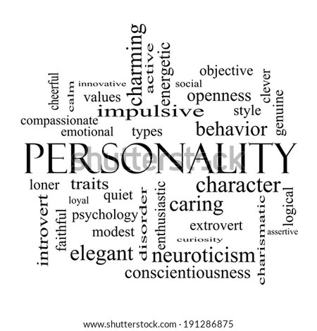 Personality Word Cloud Concept in black and white with