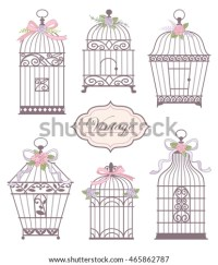 Set Vintage Bird Cages Decorated Flowers Stock Vector ...