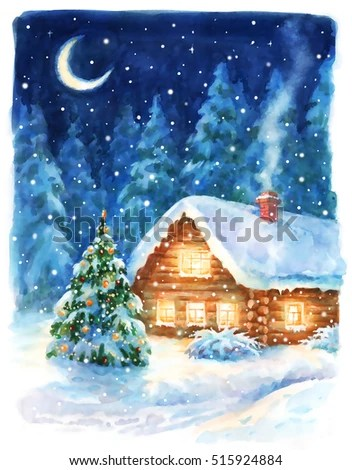 Christmas Night Landscape Watercolor Hand Paint Stock