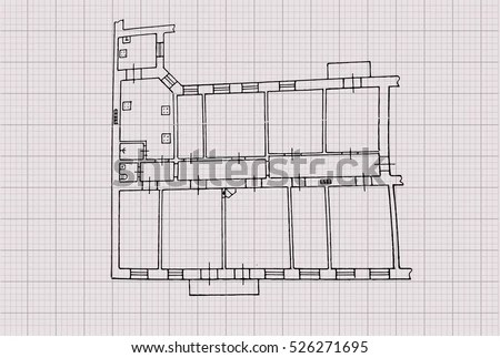 Modern Hotel Building Architectural Blueprint Vector Stock