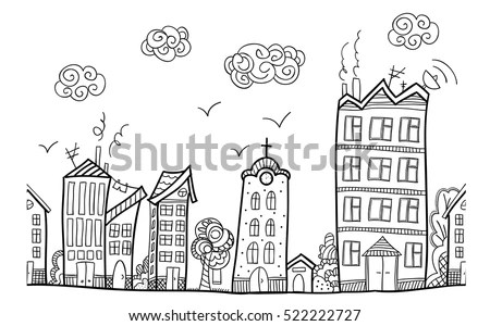 Town Street Repeated Ornament Hand Draw Stock Vector