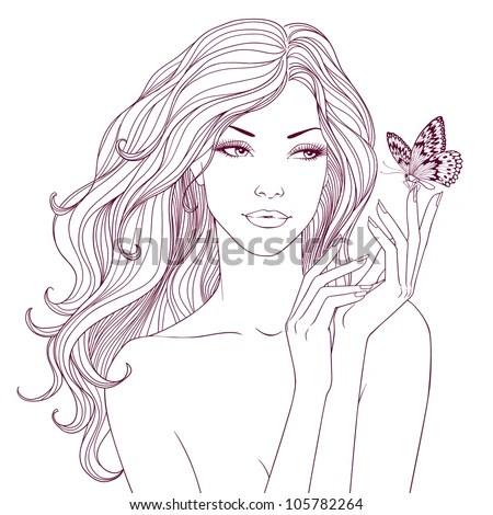 Beautiful Young Fashion Woman Long Wavy Stock Illustration