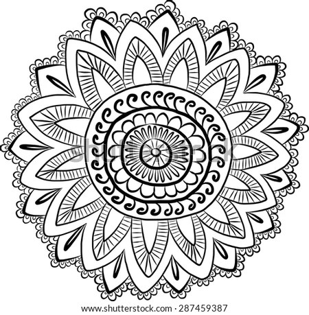 Vector Ethnic Mehndi Pattern Template Mehndi Stock Vector
