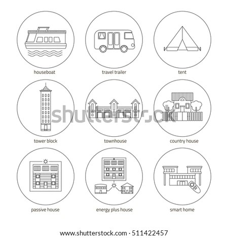Icons Set Houses Different Types Homes Vectores En Stock
