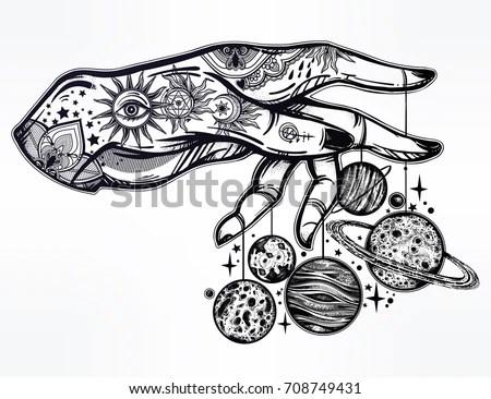 Handdrawn Vintage Tattoo Art Vector Illustration Stock