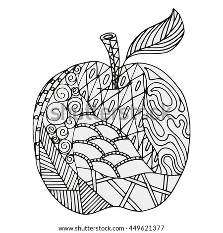 Apple Abstract Figures Coloring Book Page Stock Vector