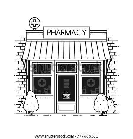 Pharmacy Store Building Facade Street Shop Stock Vector