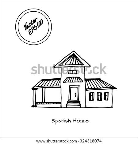 Hand Drawn Sketch Spanish House Big Stock Vector (Royalty