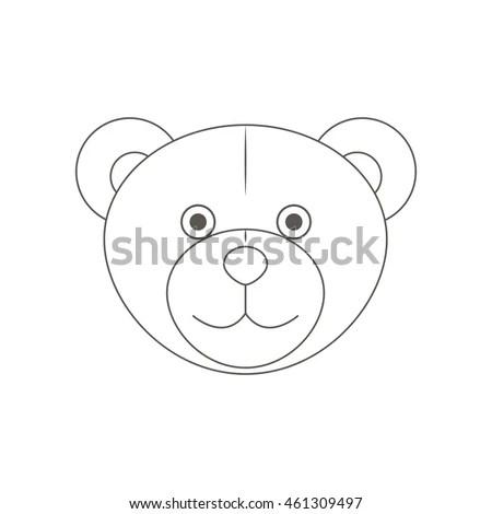 Cute Monochrome Outline Teddy Bears Head Stock Vector