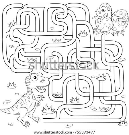 Help Dinosaur Find Path Nest Labyrinth Stock Vector