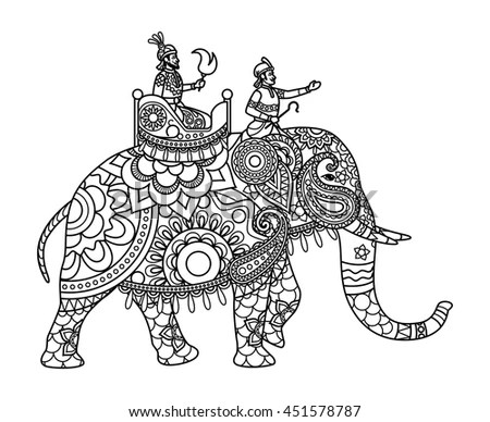 Indian Maharajah On Elephant Coloring Pages Stock Vector