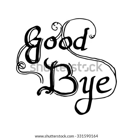 Hand Draw Lettering Goodbye Design Postcards Stock Vector