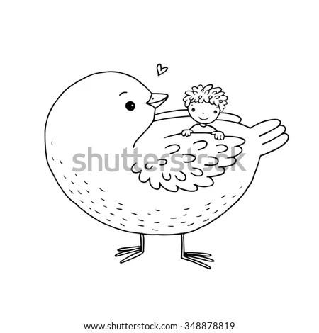 Sorrycute Bird Cartoon Concept Stock Vector 398736703