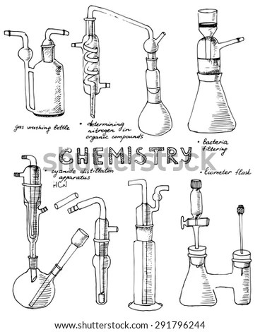 Set Hand Drawn Science Chemical Glass Stock Vector