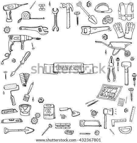 Vector Sketch Big Set Weapons Equipment Stock Vector