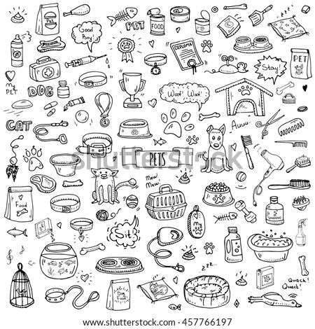 Hand Drawn Doodle Pets Stuff Supply Stock Vector 457766197