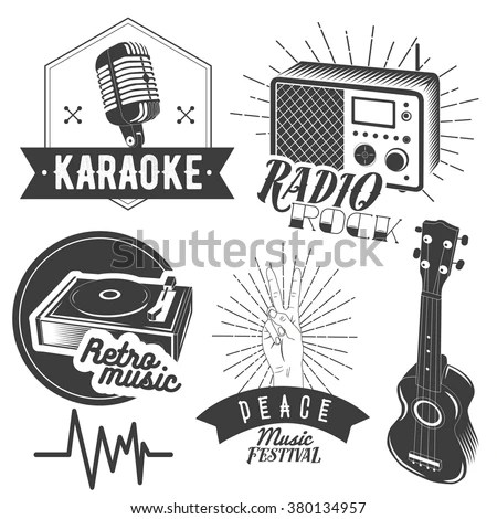 Vector Set Karaoke Music Labels Vintage Stock Vector