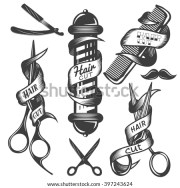 vector set hair salon labels
