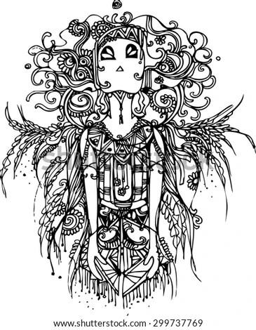 Native American Girl Wolf Headdress Lineart Stock Vector