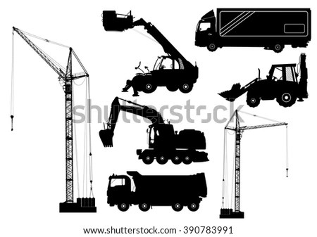 Construction Machinery Silhouettes Including Crane