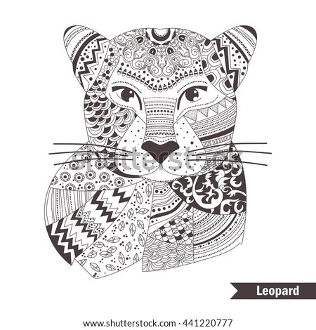 Leopard Zentangle Style Coloring Book Adult Stock Vector