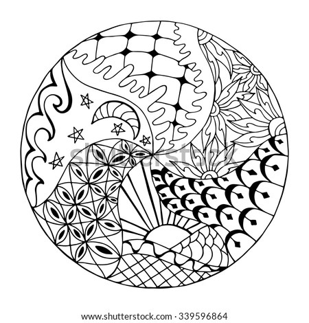 Hand Drawn Zentangle Round Ornament Adult Stock Vector