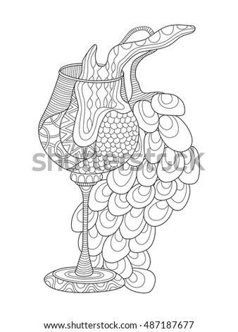 Wine Glass Grapes Coloring Page Adults Stock Vector