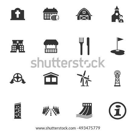 Small Town Vector Silhouettes Blank Copy Stock Vector