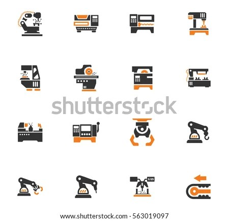 Vector Machine Tool Icons Set Work Stock Vector 563019097