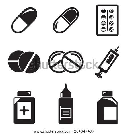 Vector Black Pills Medication Icons Set Stock Vector
