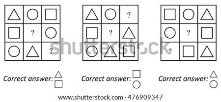 Logic Iq Test Childrens Educational Task Stock Vector