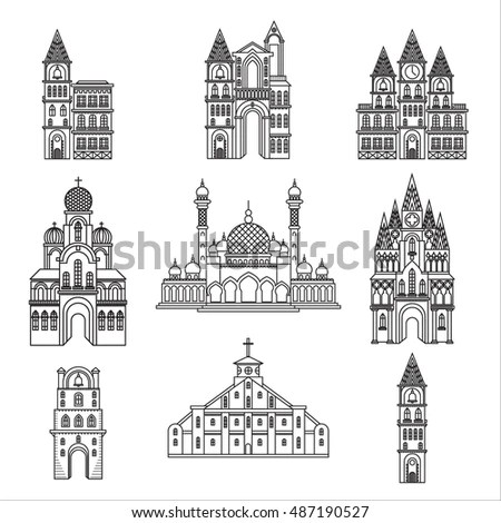 Set Different Style Religion Architecture Churches Stock