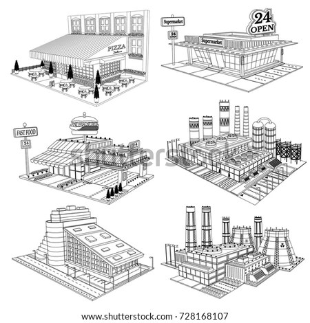 Set Sketch Isometric Buildings Cafe Pizzeria Stock Vector