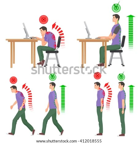 Bad posture in daily day will cause back pain feeling and spinal injuries. Take care your body language
