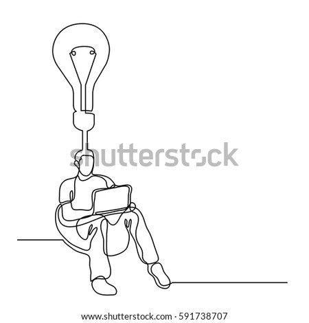 Continuous Line Drawing Man Sitting Laptop Stock Vector