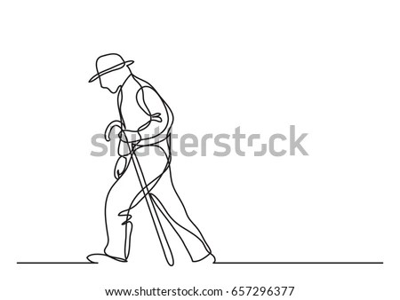Old Man Walking Single Line Drawing Stock Vector 657296377