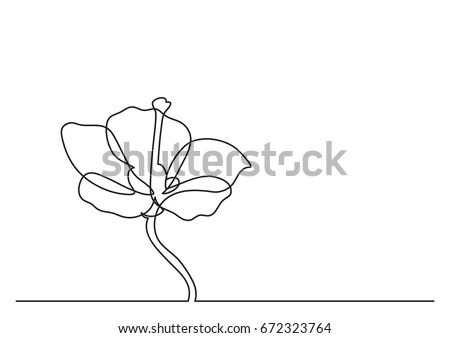 Single Line Drawing Beautiful Flower Stock Vector