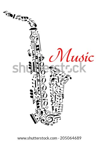 Saxophone with musical notes for entertainment and classic
