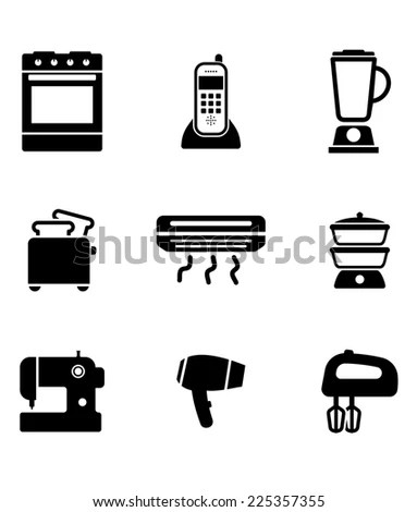 Home Appliance Icons Set On Oven Stock Vector 182048447