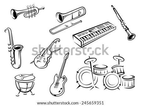 Musical Instrument Icon Set Design Stock Vector 262818632