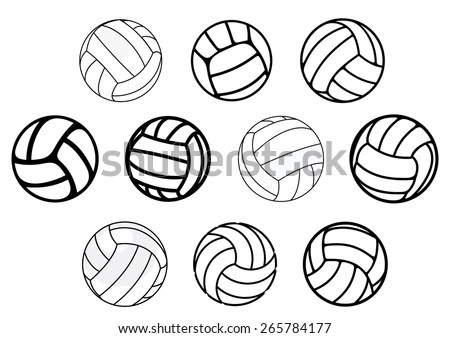 Outline Cartoon Leather Volleyball Balls Blue Stock Vector