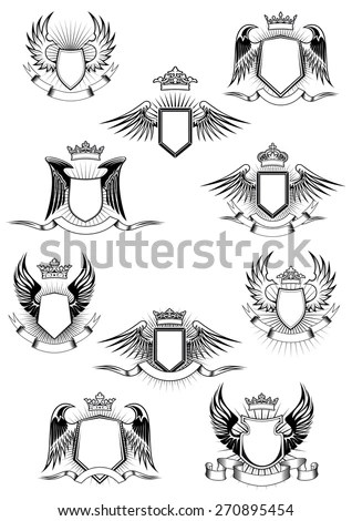 Heraldic Coat Arms Templates Medieval Winged Stock Vector