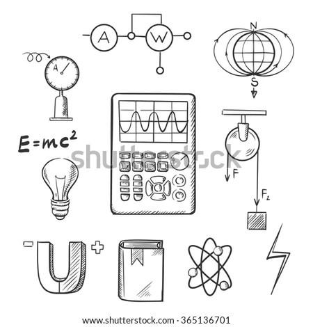Science Sketch Icons Set Symbols Physics Stock Vector