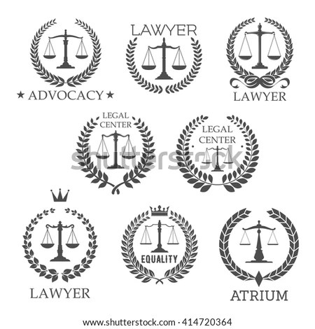 Scales Justice Laurel Wreath Frames Retro Stock Vector