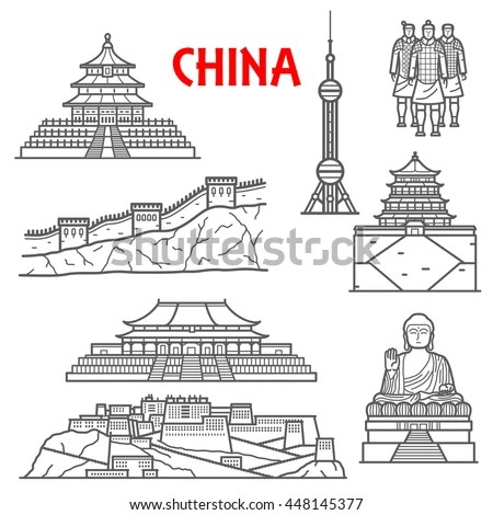 Great Wall Of China Easy Drawing Sketch Coloring Page