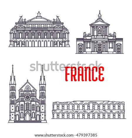 Set Stylized Outline Building Architectural Icons Stock