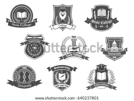 Set University College School Crests Logo Stock Vector