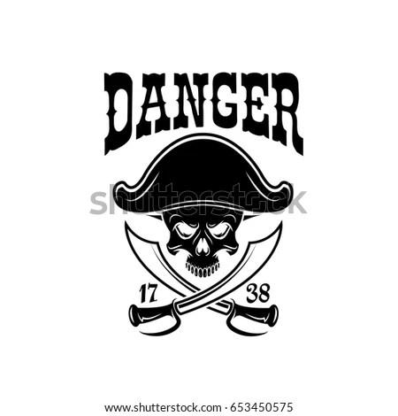Pirate Skull Crossbone Jolly Roger Symbol Stock Vector